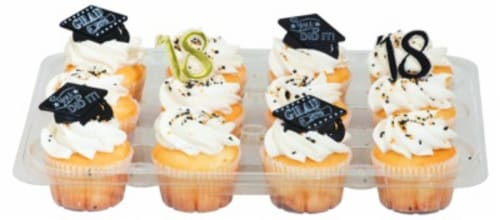 Bakery Fresh Goodness Graduation Day White Cupcakes Perspective: front