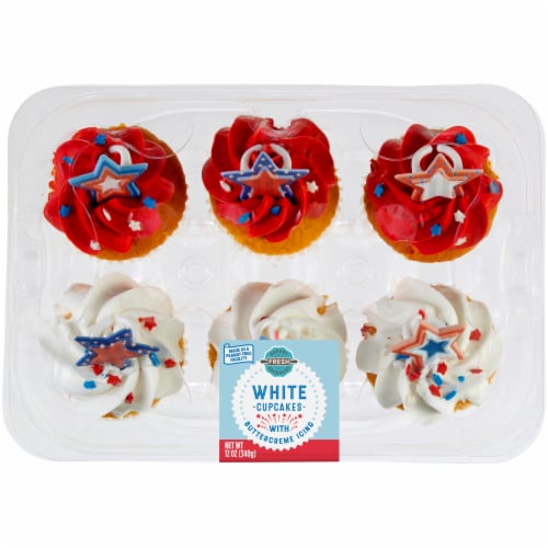 Bakery Fresh Goodness Patriotic White Cupcakes Perspective: front