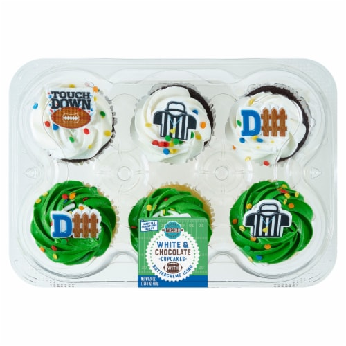 Bakery Fresh Goodness White and Chocolate Football Cupcakes with Buttercreme Icing Perspective: front