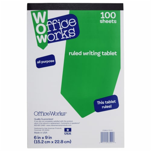 Office Works Ruled All Purpose Writing Tablet - 100 Sheets Perspective: front