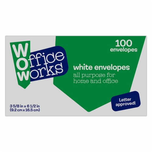 Office Works Envelopes - 100 Pack - White Perspective: front