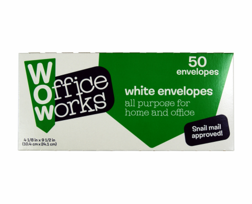 Office Works Envelopes - 50 Pack - White Perspective: front