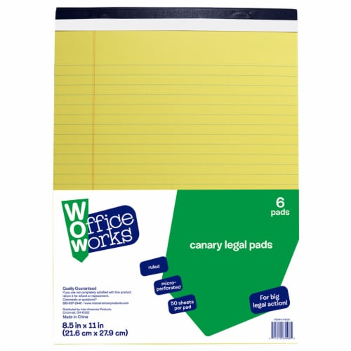 Office Works Cnary Legal Pad - 6 Pack - Yellow Perspective: front