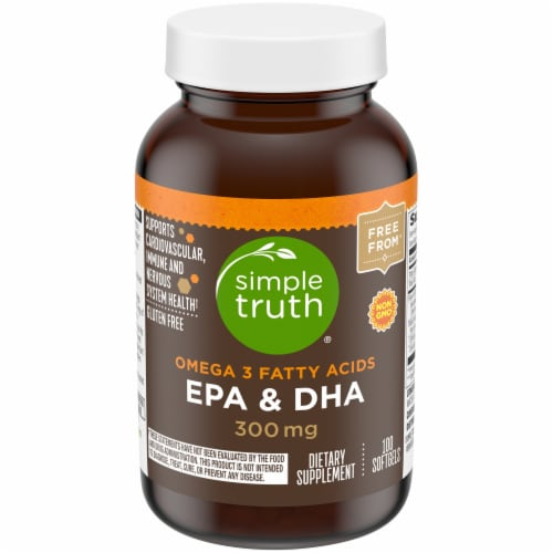 Simple Truth® Omega-3 Fatty Acids EPA & DHA Softgels 300mg Perspective: front