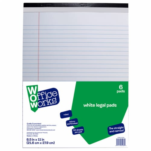 Office Works Ruled Legal Pads - 6 Pack - White Perspective: front