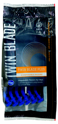 Kroger® Twin Blade Plus Disposable Razors for Men Perspective: front