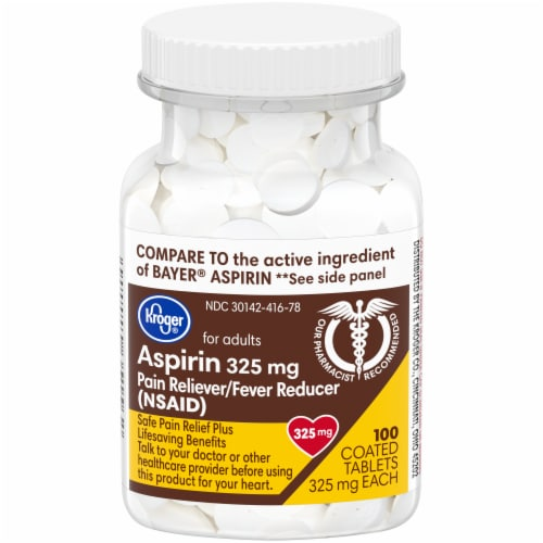 Kroger® Aspirin Pain Reliever and Fever Reducer Coated Tablets 325mg Perspective: front