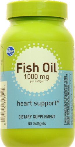 Kroger® Heart Support Fish Oil Softgels 1000mg 60 Count Perspective: front