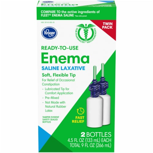 Kroger® Ready-to-Use Enema Saline Laxative Twin Pack Perspective: front