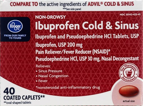 Kroger® Ibuprofen Cold & Sinus 200mg Coated Caplets Perspective: front