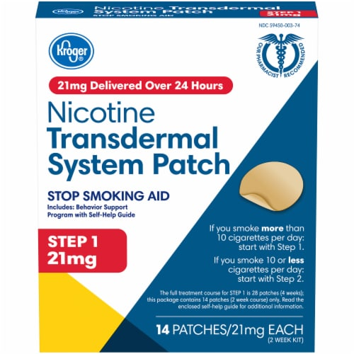 Kroger® Step 1 Stop Smoking Aid Nicotine Transdermal System Patches 21mg Perspective: front