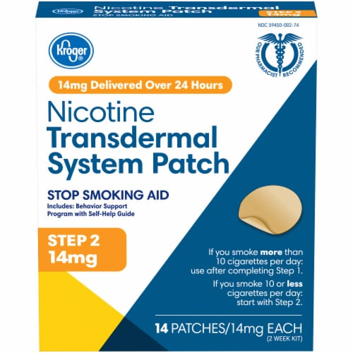 Kroger® Step 2 Stop Smoking Aid Nicotine Transdermal System Patches Perspective: front