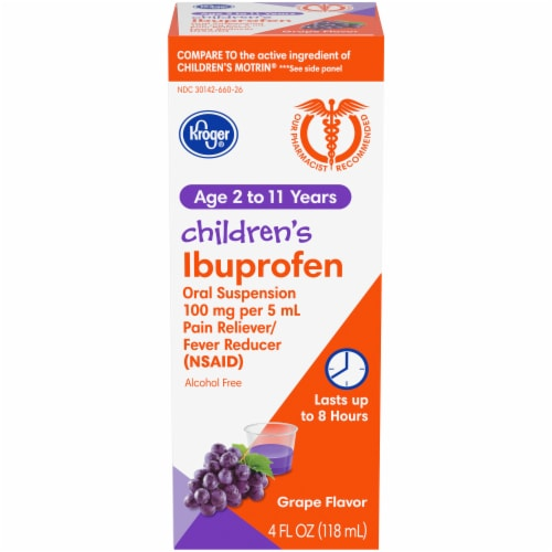 Kroger® Children's Ibuprofen Grape Oral Suspension Liquid Perspective: front