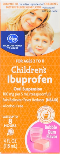Kroger® Children's Ibuprofen Bubble Gum Flavor Oral Suspension Perspective: front