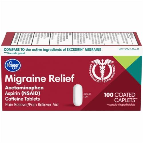 Kroger® Migraine Relief Acetaminophen Caplets Perspective: front