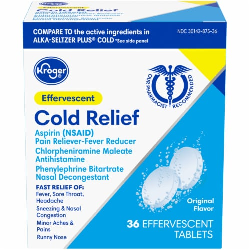 Kroger® Gluten Free Original Flavor Effervescent Cold Relief Tablets Perspective: front