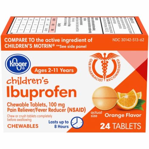 Kroger® Orange Flavor Junior Strength Ibuprofen Chewable Tablets 100mg Perspective: front