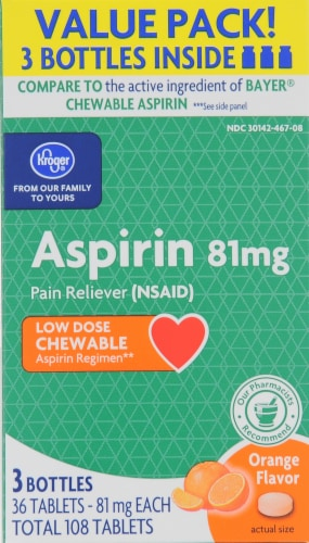 Kroger® Low Dose Orange Aspirin Chews (3 Pack) Perspective: front