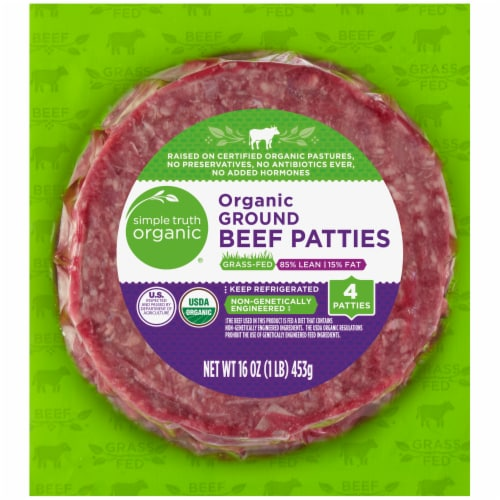 Simple Truth Organic® 85% Lean Grass-Fed Ground Beef Patties Perspective: front