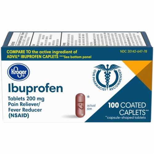 Kroger® Ibuprofen 200 mg Pain Reliever Coated Caplets Perspective: front
