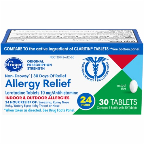 Kroger® Non-Drowsy Allergy Relief Loratadine Tablets Perspective: front