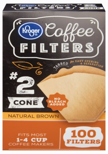 Kroger® # 2 Unbleached Cone Coffee Filters - Natural Brown Perspective: front