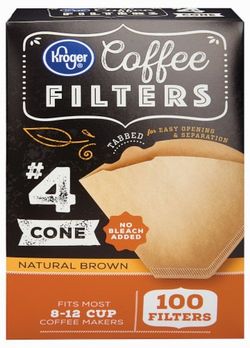 Kroger® # 4 Unbleached Cone Coffee Filters - Natural Brown Perspective: front