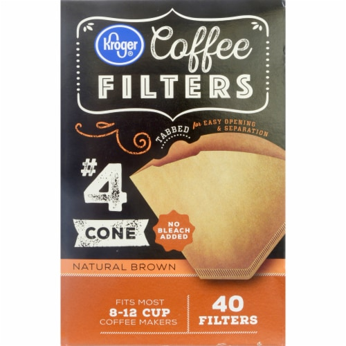 Kroger® #4 Unbleached Cone Coffee Filters - Natural Perspective: front