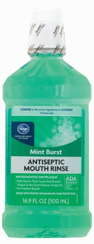 Kroger® Mint Burst Antiseptic Mouth Rinse Perspective: front