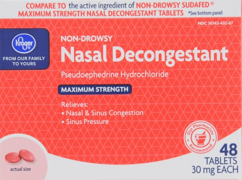 Kroger®  Non-Drowsy Maximum Strength Nasal Decongestant Tablets Perspective: front