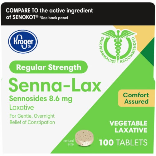 Kroger®  Regular Strength Natural Senna Vegetable 8.6 mg Laxative Tablets Box Perspective: front
