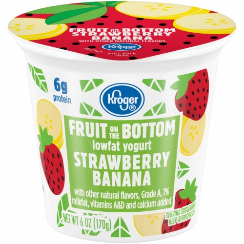 Kroger® Strawberry Banana Fruit on the Bottom Lowfat Yogurt Perspective: front