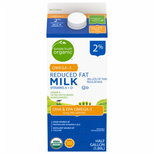 Simple Truth Organic™ 2% Reduced Fat Milk with DHA Omega-3 Perspective: front