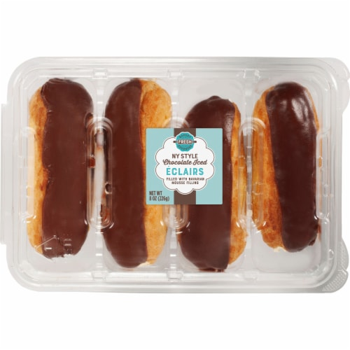 Bakery Fresh Goodness New York Style Chocolate Iced Eclairs Perspective: front