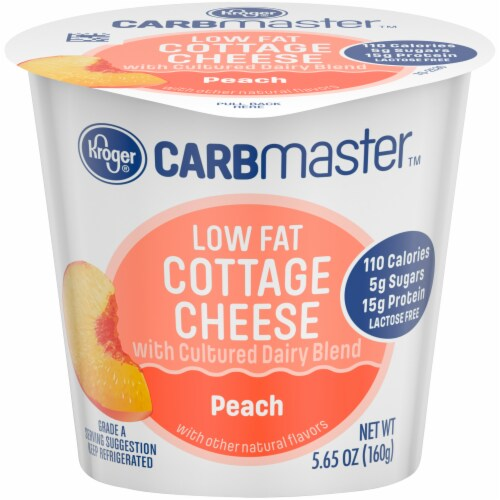 Kroger® CarbMaster™ Peach Low Fat Cottage Cheese Perspective: front