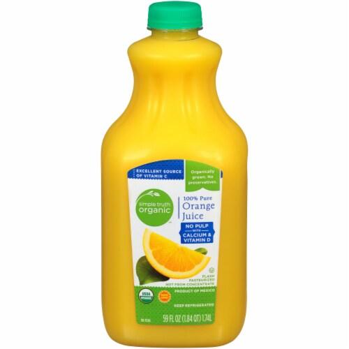 Simple Truth Organic™ No Pulp with Calcium & Vitamin D 100% Pure Orange Juice Perspective: front