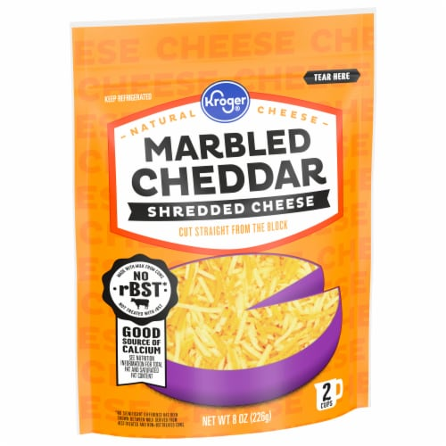 Kroger® Shredded Marbled Cheddar Cheese Perspective: front