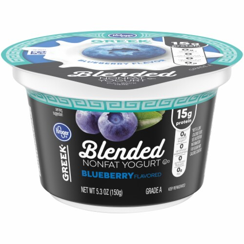 Kroger® Blended Blueberry Flavor Nonfat Greek Yogurt Perspective: front