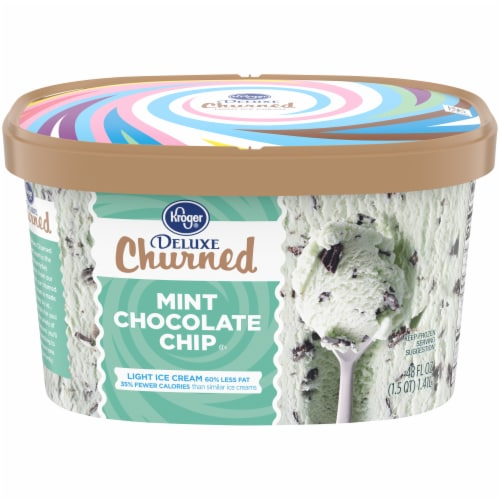 Kroger® Deluxe Churned Mint Chocolate Chip Light Ice Cream Perspective: front