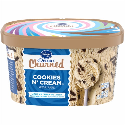 Kroger® Deluxe Cookies & Cream Churned Light Ice Cream Perspective: front