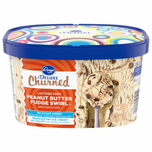 Kroger® Deluxe Lactose Free Peanut Butter Fudge Swirl No Sugar Added Churned Ice Cream Perspective: front