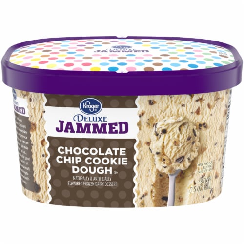 Kroger Deluxe Jammed Chocolate Chip Cookie Dough Ice Cream Perspective: front