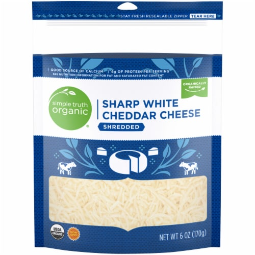 Simple Truth Organic® Shredded Sharp White Cheddar Cheese Perspective: front
