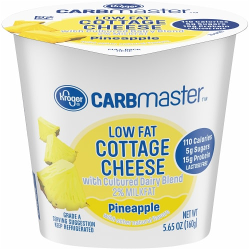 Kroger® CarbMaster™ 2% Low Fat Pineapple Cottage Cheese Perspective: front