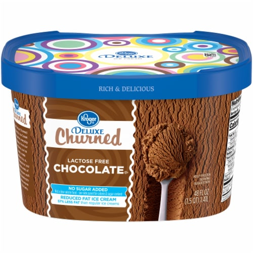 Kroger® Deluxe Churned Lactose Free Chocolate Reduced Fat Ice Cream Perspective: front