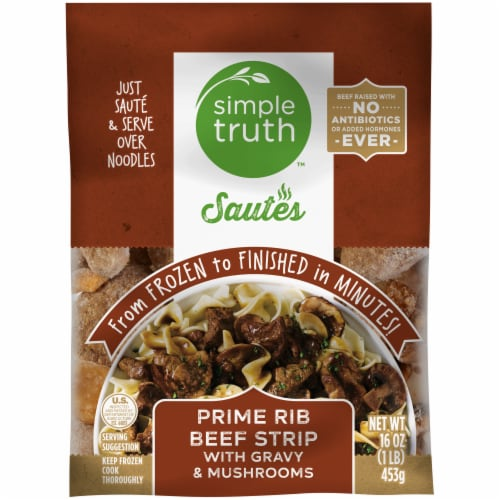 Simple Truth™ Sautes Prime Rib Strip with Gravy & Mushrooms Frozen Meal Perspective: front