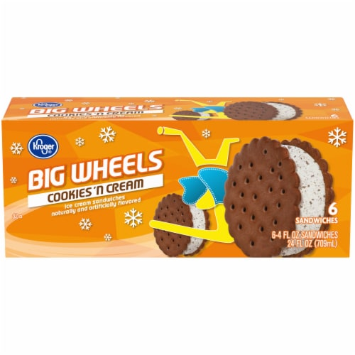 Kroger® Big Wheels Cookies N' Cream Ice Cream Sandwiches Perspective: front