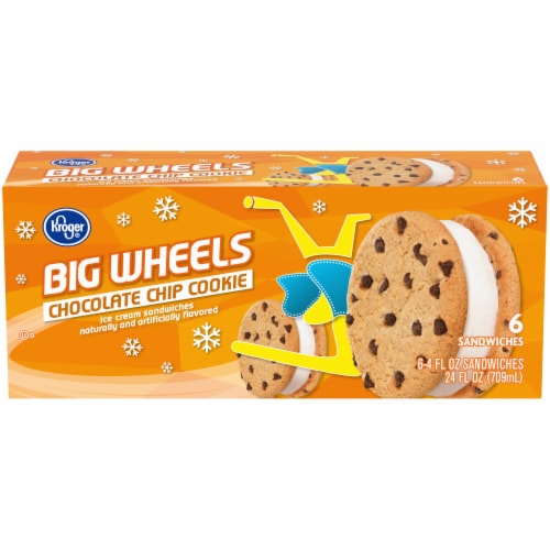 Kroger® Big Wheels Chocolate Chip Cookie Ice Cream Sandwiches Perspective: front