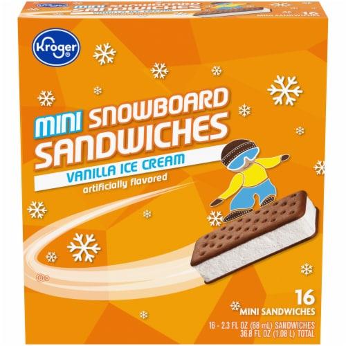 Kroger®  Mini Snowboard Vanilla Ice Cream Sandwiches 16 Count Perspective: front