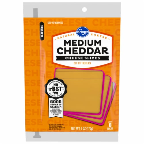 Kroger® Medium Cheddar Cheese Slices Perspective: front